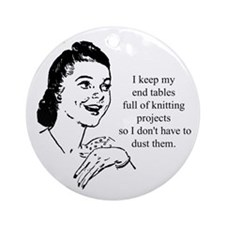 Knitting - Don't Have to Dust Ornament (Round)