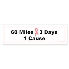 3 Days 60 Miles 1 Cause Bumper Sticker (10 pk)
