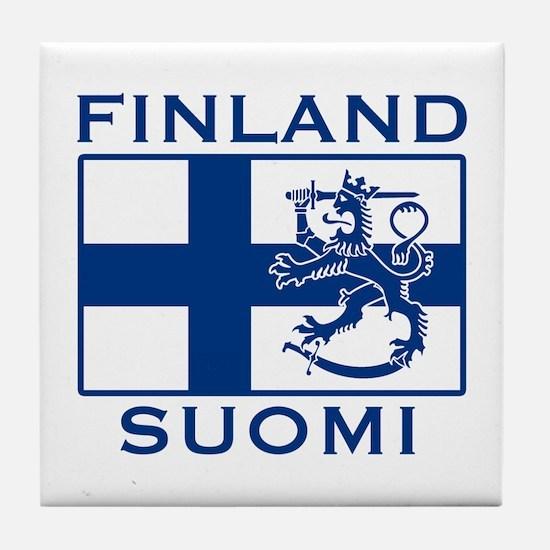 Finland Suomi Flag Tile Coaster