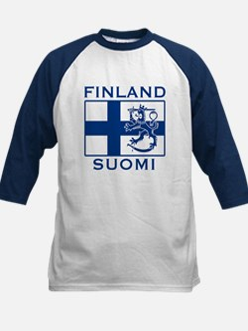 Finland Suomi Flag Kids Baseball Jersey
