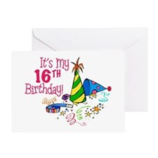 It's My 16th Birthday (Party Hats) Greeting Card