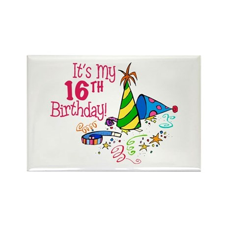 It's My 16th Birthday (Party Hats) Rectangle Magne