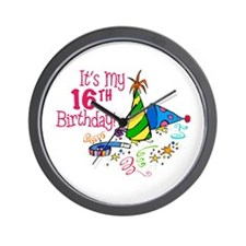 It's My 16th Birthday (Party Hats) Wall Clock