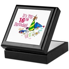 It's My 16th Birthday (Party Hats) Keepsake Box