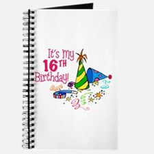 It's My 16th Birthday (Party Hats) Journal