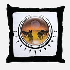 Wolf Orb Orange Throw Pillow