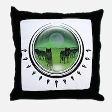 Wolf Orb Green Throw Pillow