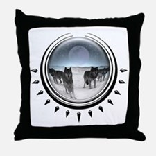 Wolf Orb Silver Throw Pillow