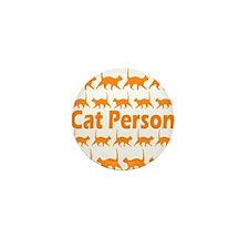 Orange Cat Person Mini Button