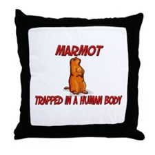 Marmot trapped in a human body Throw Pillow