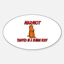 Marmot trapped in a human body Oval Decal