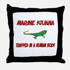 Marine Iguana trapped in a human body Throw Pillow