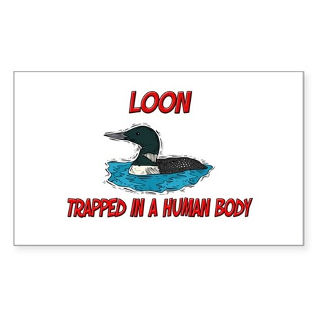 Loon trapped in a human body Rectangle Sticker