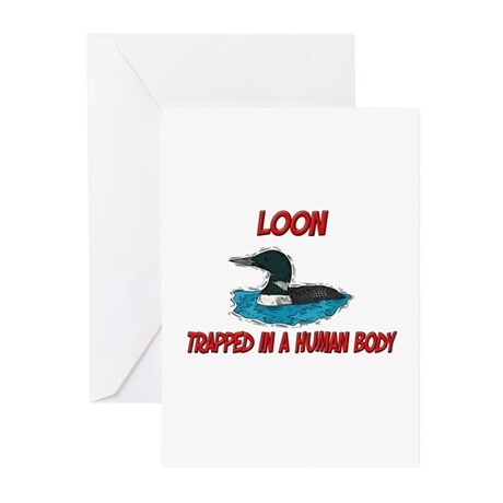 Loon trapped in a human body Greeting Cards (Pk of