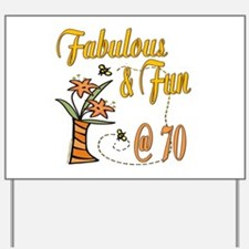 Floral 70th Yard Sign