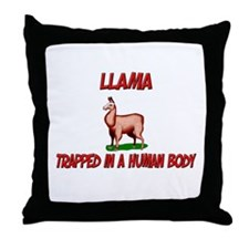 Llama trapped in a human body Throw Pillow