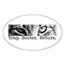 Trap. Neuter. Return. Cat Eye Oval Sticker (50 pk)