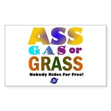 Ass, Gas or Grass Rectangle Decal