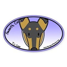 Anime Tri Smooth Collie Oval Sticker (Cartoon)