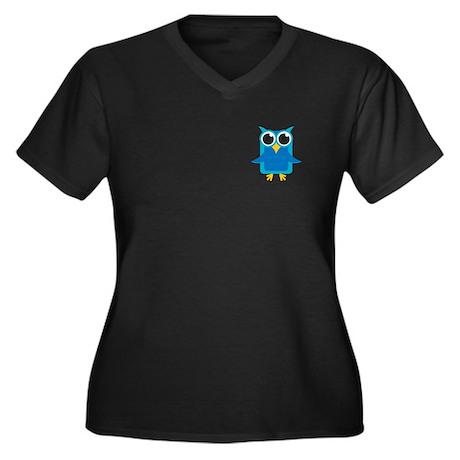 Blue Owl Women's Plus Size V-Neck Dark T-Shirt