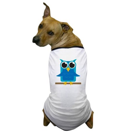 Blue Owl on Branch Dog T-Shirt