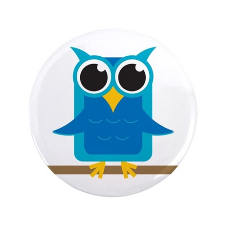 """Blue Owl on Branch 3.5"""" Button (100 pack)"""