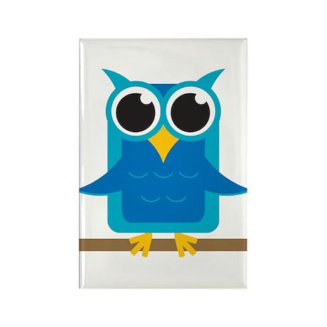 Blue Owl on Branch Rectangle Magnet (100 pack)