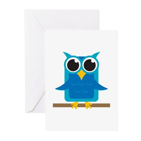 Blue Owl on Branch Greeting Cards (Pk of 20)