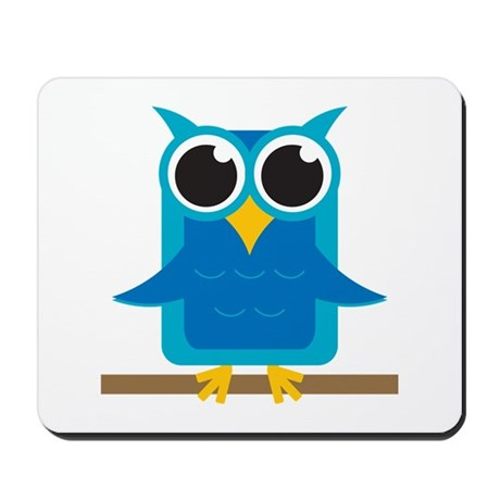 Blue Owl on Branch Mousepad