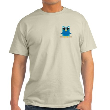 Blue Owl on Branch Light T-Shirt