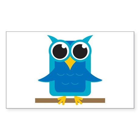 blue owl on branch rectangle bumper stickers by 1512blvdbaby