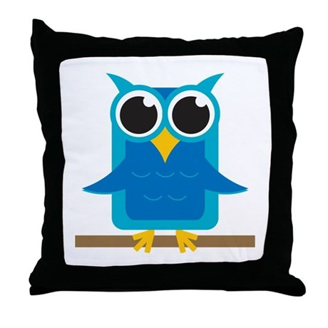 blue owl on branch throw pillow by 1512blvdbaby