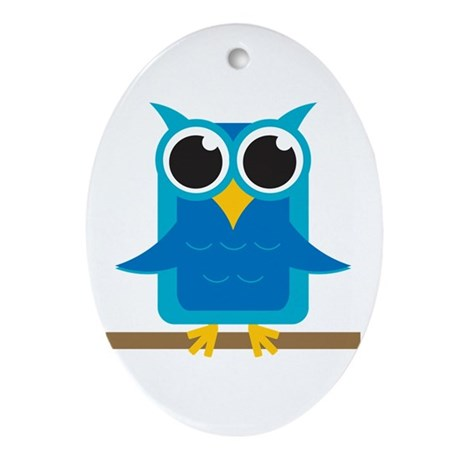 Blue Owl on Branch Oval Ornament