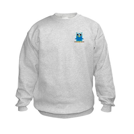 Blue Owl on Branch Kids Sweatshirt