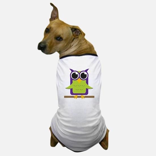 Purple Owl on Branch Dog T-Shirt