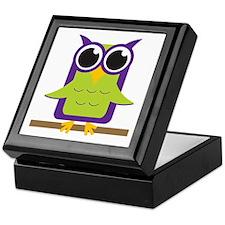 Purple Owl on Branch Keepsake Box