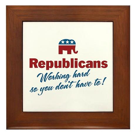 Republicans Working Hard Framed Tile