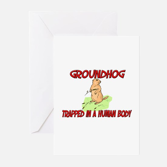 Groundhog trapped in a human body Greeting Cards (