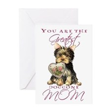 Yorkie I Love Mom Greeting Card