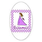 Lilac Bridesmaid Oval Sticker (10 pk)