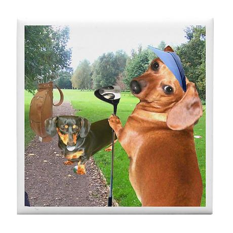 Golf Dogs Tile Coaster