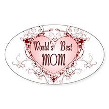 World's Best Mom Mothers Day Oval Sticker (10 pk)