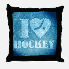 Teal ice Hockey Throw Pillow