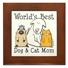 World's Best Dog & Cat Mom Framed Tile