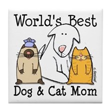 World's Best Dog & Cat Mom Tile Coaster