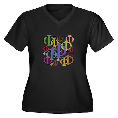 Phi Women's Plus Size V-Neck Dark T-Shirt