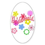 Colorful Floral Bridesmaid Oval Sticker