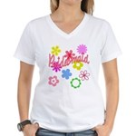 Colorful Floral Bridesmaid Women's V-Neck T-Shirt