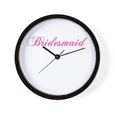 Pink Script Bridesmaid Wall Clock