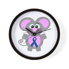 Blue Awareness Ribbon Goofkins Mouse Wall Clock